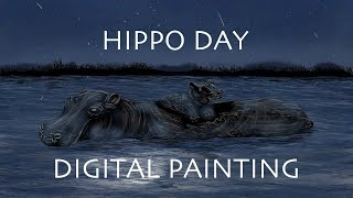 Baby Hippo playing in the water Digital Painting Process - Hippo Day