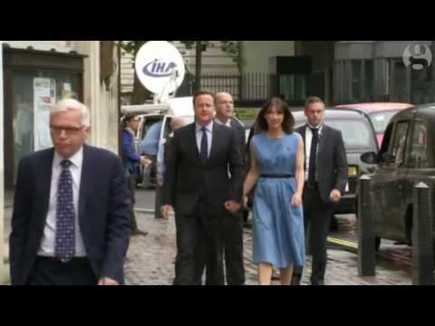 David and Samantha Cameron go to vote in Westminster