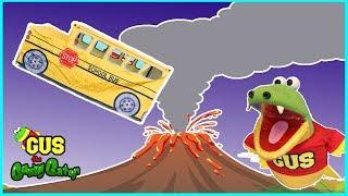 Pretend Play School Bus Pop up Tent! Volcano adventure!