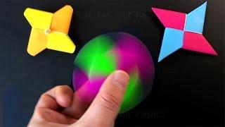 Fidget Spinner selber bauen: Origami Fidget Spinner basteln mit Papier ohne Kugellager. deutsch. DIY