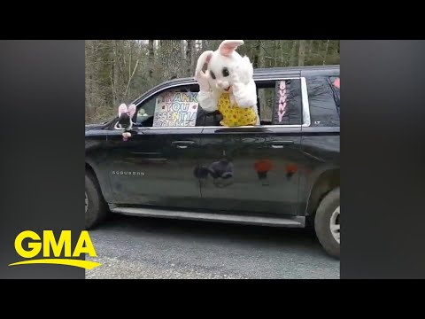 This Easter bunny drive-by is getting us into the Easter spirit l GMA Digital