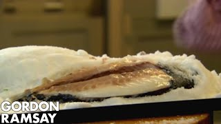 Salt-Crusted Sea Bream with Braised Leeks and Hazelnuts - Gordon Ramsay