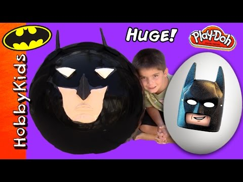 2 Mega GIANT BATMAN Surprise Eggs! Play-Doh Batman+Superhero Kinder Egg Marvel HobbyKidsTV
