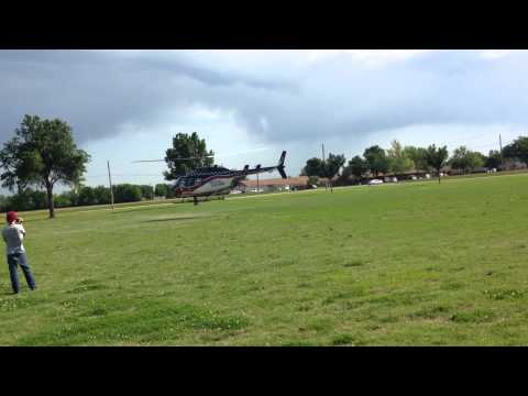 A Helicopter taking off at Vinita High School