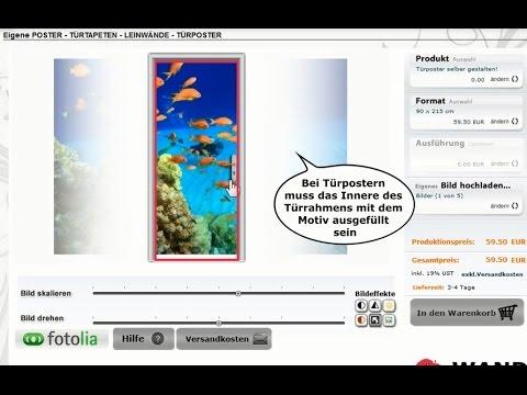 t rposter und poster selbst gestalten mit dem online designer von wandworte youtube. Black Bedroom Furniture Sets. Home Design Ideas