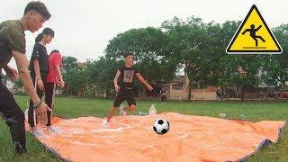 PHD | Thử Thách Sút Penalty Trên Sàn Xà Bông | Challenge Penalty Kick On Soap Floor