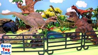 School Bus Trip to Dinosaur Park - Fun Dinos T-rex and Carnotaurus Toys For Kids