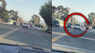 Shocking Video Shows Man Swerving in Traffic