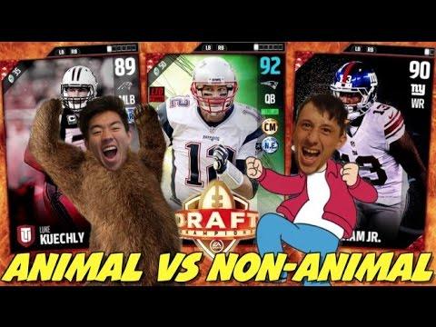 ANIMAL VS NON ANIMAL DRAFT! INTENSE GAME! MADDEN 17 DRAFT CHAMPIONS