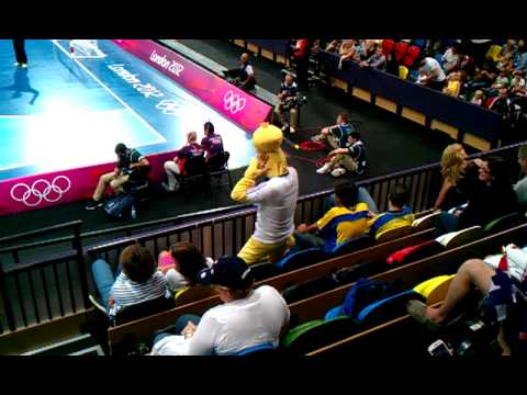 French Fan Funny Dance at Handball game at London Olympics 2012
