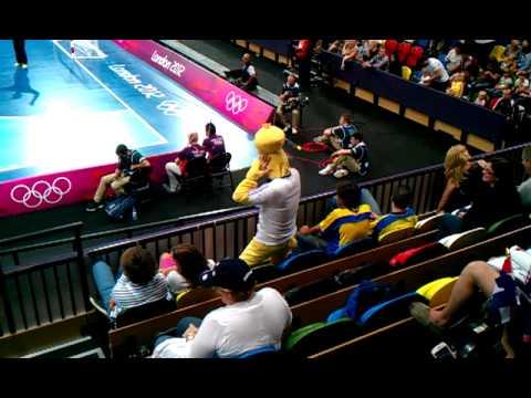 French Fan Funny Dance at Handball game at London Olympics 2012