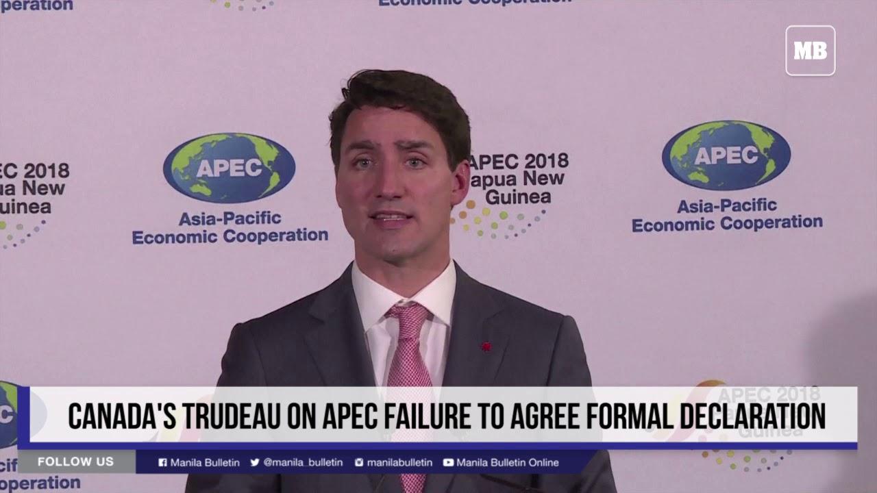Canada's Trudeau on APEC failure to agree formal declaration