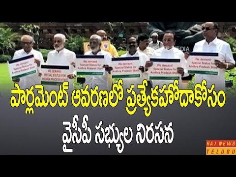 YCP MPs Protest at Parliament Demanding Special Status for Andhra Pradesh | Raj News