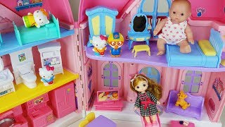 Baby doll baby sitter play and Hello kitty house and food cooking toys car play - 토이몽
