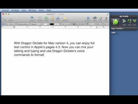 Dragon Dictate for Mac, v4: Full Text Control in Apple Pages 4.3