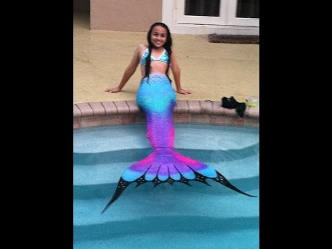 Swimming in a Silicone Mermaid Tail   Purple Rainbow Tails
