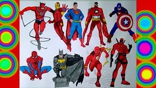 10 Characters Superheroes Spiderman Flash, Captain america, Daredevil Batman superman Coloring pages
