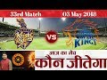 33rd Match| KKR vs CSK 2018 IPL | कोलकाता vs चेन्नई | Kolkata Knight Riders vs Chennai Super Kings