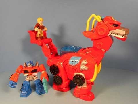 TRANSFORMERS RESCUE BOTS ROBOT HEROES HEATWAVE THE RESCUE DINOBOT ELECTRONIC TOY REVIEW