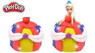 DIY How to make Play Doh Elsa Sparkle Disney Princess Dresses for Kids