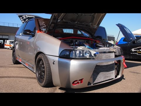 Fiat Punto GT Turbo 500Hp [Fata Turbina] Drag Racing  - insane engine and camera board on track!