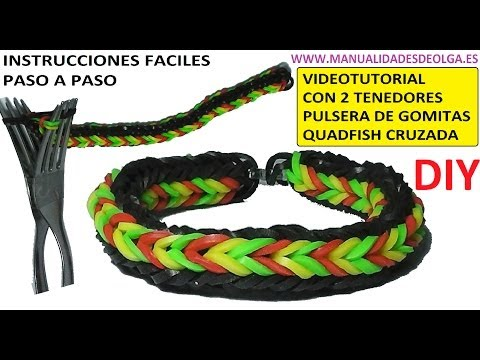 COMO HACER PULSERA DE GOMITAS QUADFISH CRUZADA (CROSS QUAD-FISH) CON 2 T...