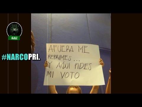 Protestan contra candidatos priístas en el ITESO en Guadalajara.