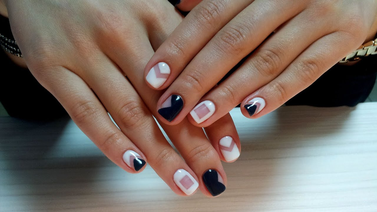 гель лак рисунки на коротких ногтях фото