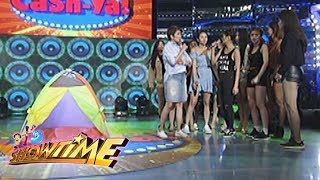 It's Showtime: Team Nadine inside a tent