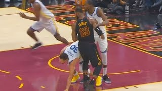 LeBron James Hits Stephen Curry in the Groin!!! Warriors vs Cavaliers