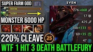 WTF 6000 HP Battlefury Sven 220% Cleave Damage | 40Kills 1 Hit 3 Death by TOP 3 MMR Forev DotA 2 WTF