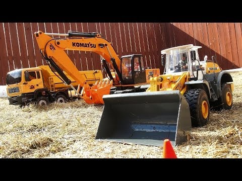 RC ADVENTURES - 1/12 Earth Digger 4200XL Excavator. 1/15 Graupner Liebherr Loader. 8x8 Tipper Truck