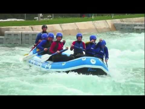 Jeremy Hunt white water rafting at the Lee Valley Olympic Canoe Slalom Course