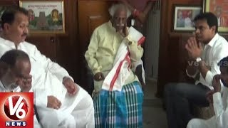 Minister KTR Meets Bandaru Dattatreya, Pays Deep Condolence To Bandaru Vaishnav