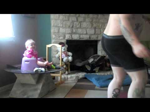Chubby Daddy Playing Kinect Entertains Laughing Baby video