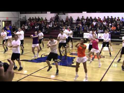 Awesome Cheerleaders and Basketball Players Dance Cobden High School