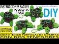 COMO HACER UNA TORTUGA DE GOMITAS CON DOS TENEDORES. VIDEO TUTORIAL DIY FIGURA (CHARM)