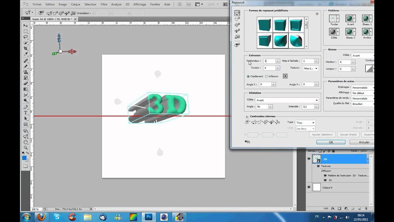 Tutorial photoshop cs5 fr texte effet 3d youtube for Effet miroir photoshop cs5