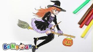 Hướng Dẫn Bé Tập Vẽ Và Tô Màu Phù Thủy Tím ~ Drawing Purple Witch