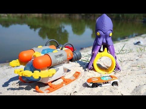 Подводный батискаф с машинкой и осьминогом. Игрушки для воды. Matchbox. Обзор игрушек для детей