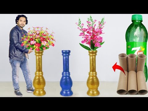 Big size corner flower vase make at home // Paper roll Flower vase for home decoration thumbnail