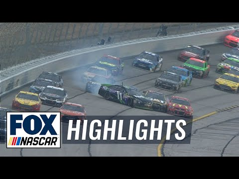 Denny Hamlin Gets Loose, Wrecks Jeff Gordon, Jamie McMurray - Atlanta - 2015 NASCAR Sprint Cup