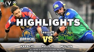 Karachi Kings vs Multan Sultans | Full Match Highlights | Match 19 | 6 March | HBL PSL 2020