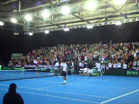 Watch the moment James Ward defeats Dmitry Tursunov at the Davis Cup
