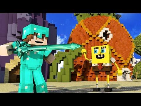 50 vs 2 ULTIMATE WAR IN SPONGEBOB BIKINI BOTTOM in Minecraft!