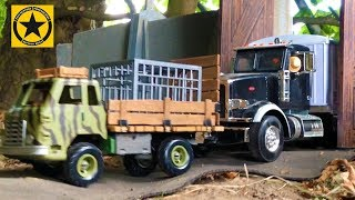 BRUDER TRUCKS Jurassic Dino Zoo Toy truck videos for children!