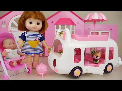 Baby Doll and Rabbit camping car Picnic toys play