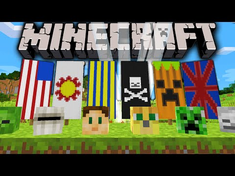 Minecraft 1.8 Snapshot: How to Dye Banners Custom Flags Survival Monster Heads Lightning Summon