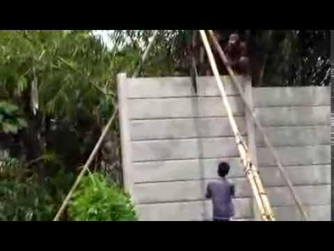 cara memasang pager beton tercepat sedunia,,pake mesin ajaib