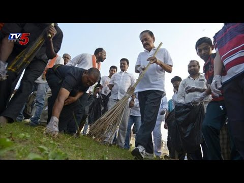 Venkaiah Naidu Swachh Bharat Campaign at RK Beach Vizag : TV5 News